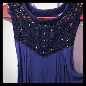 Free People navy blue cut out tank